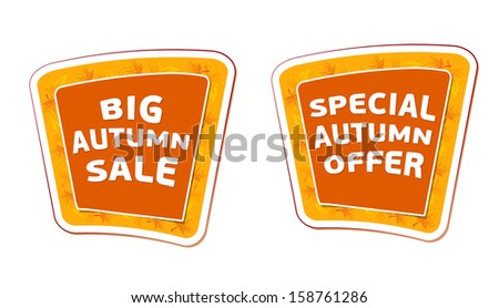 big sale and special offer autumn banners - text in orange labels, business fall seasonal concept, vector - stock vector