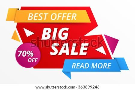 Big sale banner, 70% off, best offer, vector eps10 illustration - stock vector