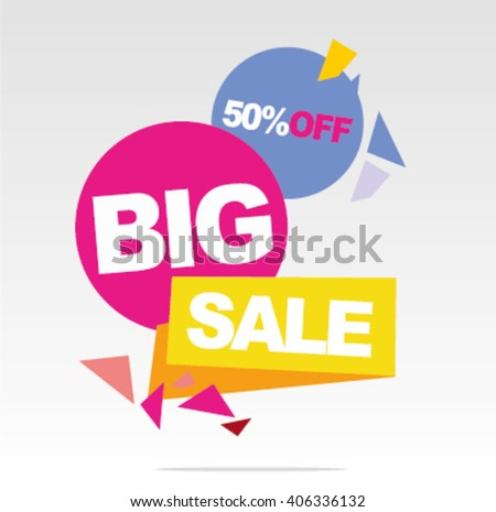 Big sale banner, sale 50%off. Vector Illustration