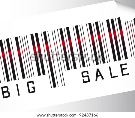 big sale bar code  over gray background vector. close up