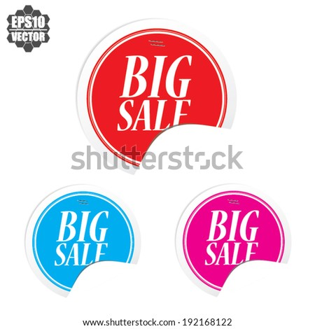 Big sale colorful circle sticker and label - vector illustration  - stock vector