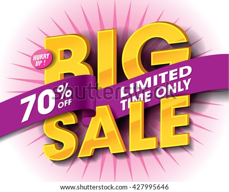 Big Sale concept with label banner. sale layout design. Vector illustration - stock vector