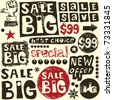 big sale crazy doodles - stock vector