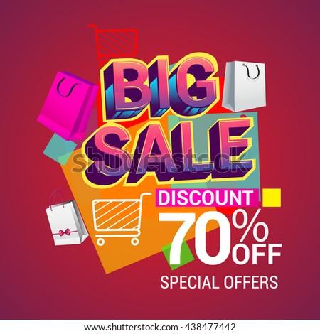 Big sale discount 70% off vector design for banner, flyer and brochure for event promotion business or department store.