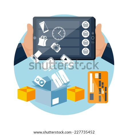 Big sale icons online ecommerce technology shopping and delivery in flat design style. Goods falling down from screen in box. Commercial processes of purchase order. Customer pays shipping - stock vector