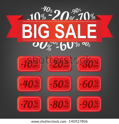 Big sale label with percents - stock vector