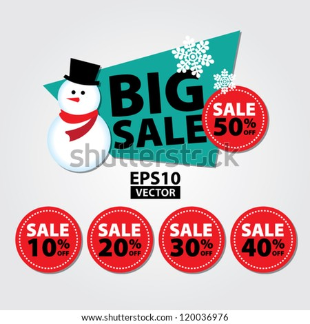 Big Sale New Year and Christmas Snowman Sticker tags with Sale 10 - 50 percent text on Red Circle Sticker tags - EPS10 Vector - stock vector
