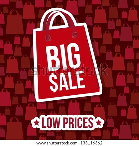 big sale over red background. vector illustration - stock vector