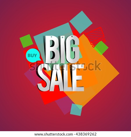 Big sale promo department store, Big sale banner template design with colorful geometric background. Sale banner template design.