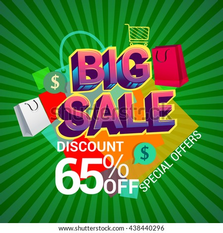 Big sale promo department store, Big sale discount 65% off banner template design with colorful geometric background. Sale banner template design.