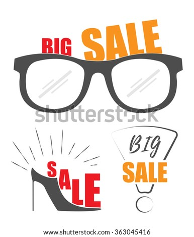 Big sale promo store. Sale set. Big sale. Big Sale and discount up to 50% - stock vector