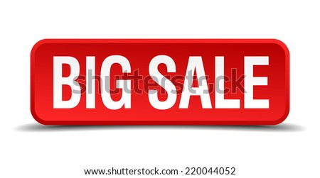 big sale red three-dimensional square button isolated on white background - stock vector
