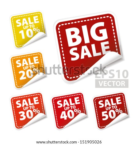 Big Sale square sticker with Sale up to 10 - 50 percent text on square background - Vector - stock vector