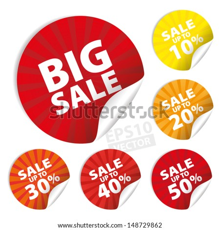 Big Sale Stickers and tags with Save up to 10 - 50 percent on Yellow and Red Background : EPS10 Vector - stock vector