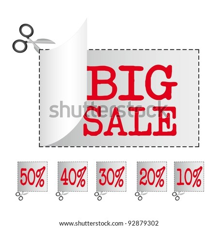 big sale stickers with discount over white background. vector