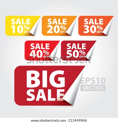 Big Sale tags with Sale 10 - 50 percent text on square sticker tags - EPS10 Vector - stock vector