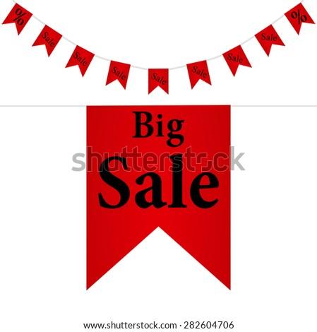 Big sale vertical ribbon bookmark tag - stock vector