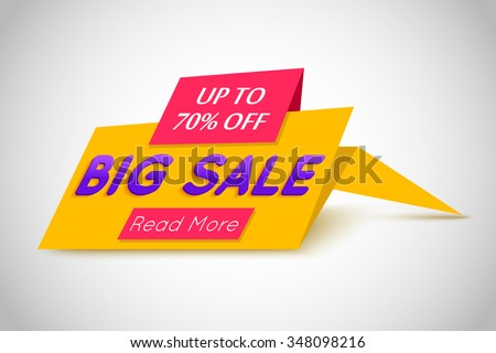 Big Sale yellow paper banner. Super Sale and special offer. Web banner. Banner vector. Web banner designs. Web banner template. Banner design. Banner template. Banner background. Up to 70% off. - stock vector