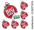 Big Save Christmas Ball Sticker tags with Save up to 50 - 90 percent text on Red Christmas Ball Sticker tags - EPS10 Vector - stock vector