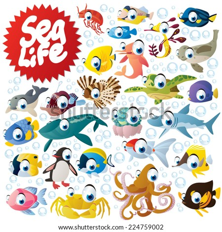 Big sea life animals set: fish, shark, octopus, dolphin, crab, penguin, angler, turtle, seal, seahorse, shrimp - stock vector