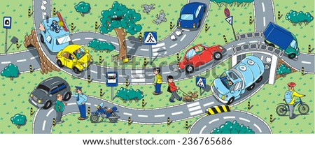 Big seamless pattern or background of roads, crossings, cars and people - stock vector