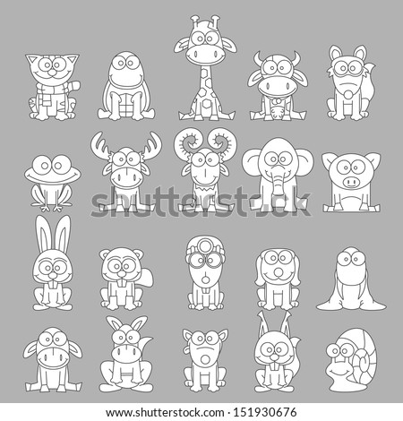 Big set black and white animals. Vector illustration