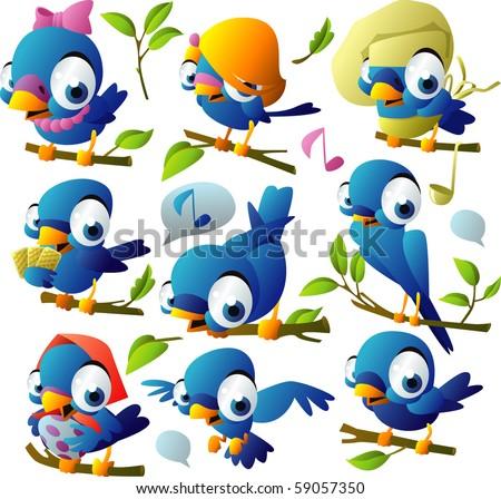 big set blue birds - stock vector