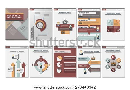 Big set Business infographics elements for corporate brochures. Collection of modern infographic elements in a flyer and brochure concept. Flat design. Vector - stock vector