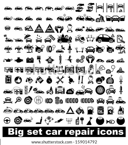 Big set car repair icons. Vector illustration - stock vector