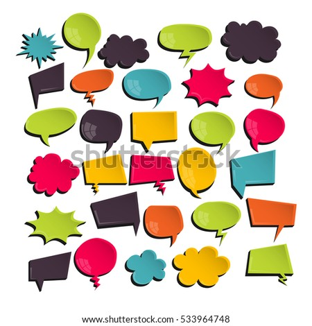 Big set clear glossy plastic for comic text background. Vector speech bubble icon cartoon, empty label, tag, dialog conversation. Illustration backdrop. Comics book balloon.