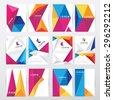 big set collection of trendy geometric triangular design style brochure cover template mockups for business visual identity with letter logo elements