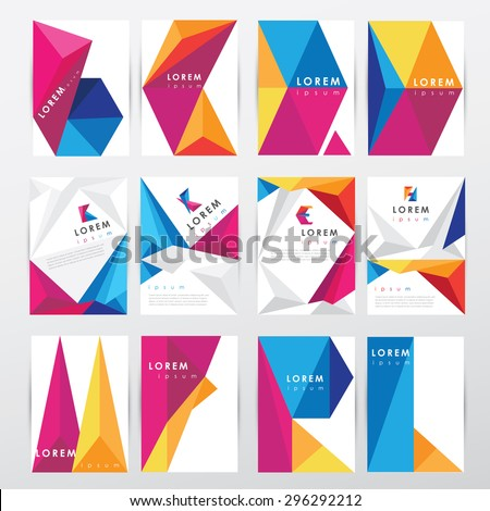 big set collection of trendy geometric triangular design style brochure cover template mockups for business visual identity with letter logo elements - stock vector