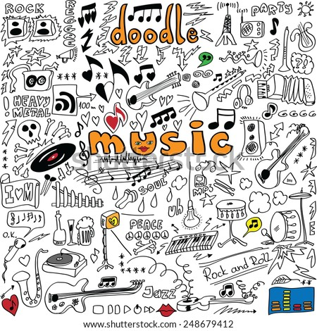 big set doodle music symbols isolated on white background, vector illustration icon - stock vector