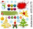 Big set elements for Christmas design, vector illustration - stock vector