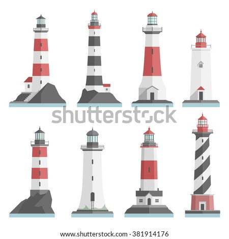 Big set flat lighthouses isolated. Red, black, white lighthouse on water. minimalism. flat buildings icon. architecture objects. old and modern. low, high, small, big lighthouse.  - stock vector