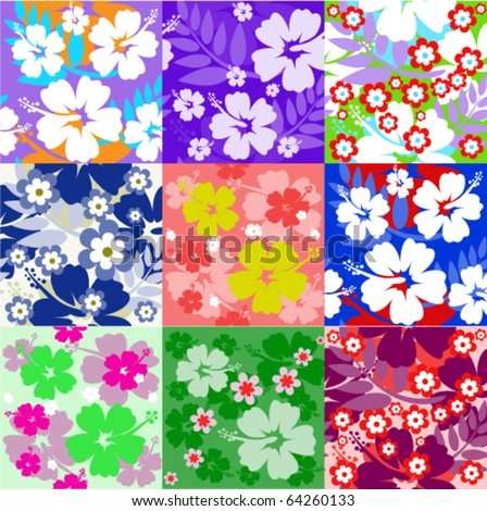Big set Hibiscus flower seamless Background - stock vector