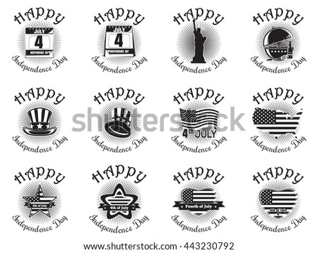 Big set icon for Independence Day. Happy Independence Day. Statue of Liberty, calendar with the date July 4, Uncle Sam hat, heart shaped American (USA) flag. Vector icon isolated on white background - stock vector