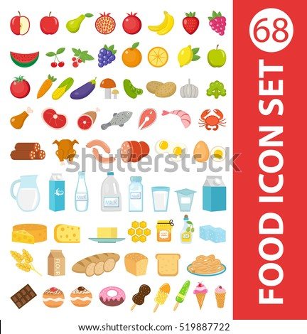 Big set icons food, flat style. Fruits, vegetables, meat, fish, bread, milk, sweets. Food icons isolated on white background. Ingredients collection. Vector illustration