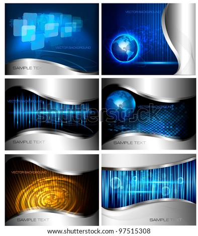 Big set of abstract technology and business backgrounds. Vector illustration - stock vector