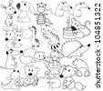 big set of animals contours, coloring book - stock vector