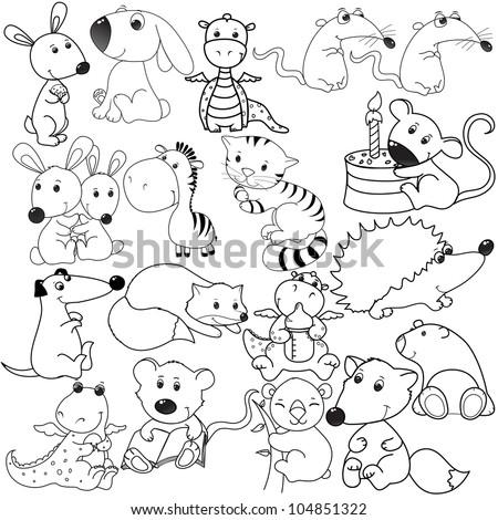 Set Animals Heads Stock Vector 104571932 - Shutterstock