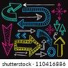 big set of arrow doodle - stock photo