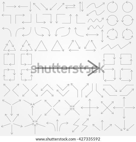 Big set of arrows. Gray isolated. Thin gray arrows. Vector illustration. - stock vector