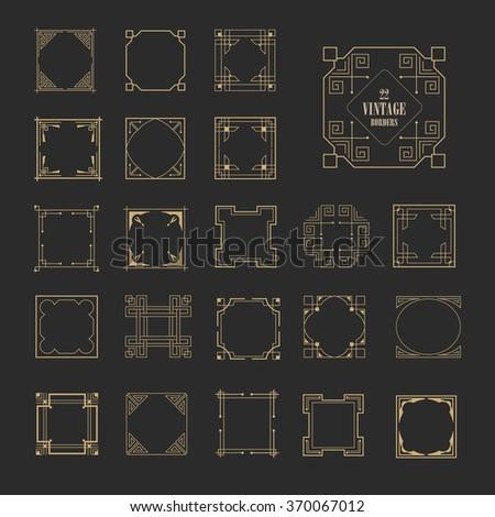 Big Set of Art Deco Western Frame, Elegant Border, Flourishes Corner Elements. Vintage  Calligraphic Ornaments. Luxury greeting decoration design - stock vector