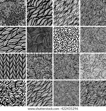 Big set of black and white wave patterns. Seamless pattern background.
