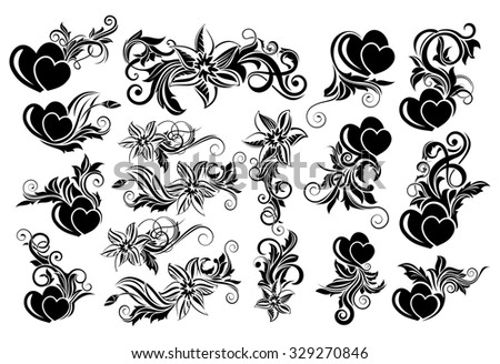 Big set of black floral design element with hearts - stock vector