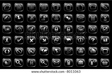 big set of black glass button - stock vector