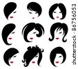 "Big set of black hair styling for woman (from my big ""Hair styling series"") - stock vector"