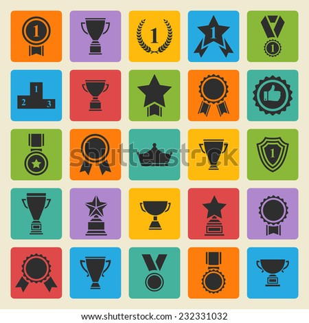 Big set of  black vector award success and victory icons with trophies stars cups ribbons rosettes medals medallions wreath and a podium on a color square - stock vector