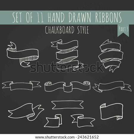 Big set of blank cute white outline ribbon banners in chalkboard style. Hand drawn vector illustration of decorative elements for your design. Part 3. - stock vector